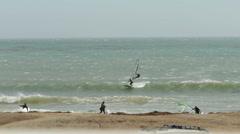Windsurfers on California's San Simeon Coast Stock Footage