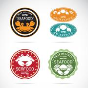 set of vector an crab seafood label on white background - stock illustration