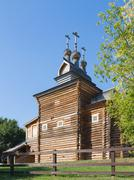 old beautiful wooden church - stock photo