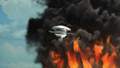 Flying saucer fire smoke Stock Footage
