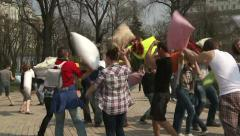 International day of the battle of pillows in Kiev. Stock Footage