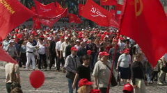 Thousands of people at a Communist rally. Stock Footage