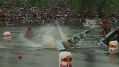 Participants of competition RED BULL FLUGTAG demonstrate their flying machines. Stock Footage