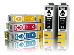 Cartridges for colour inkjet printer. cmyk. Stock Illustration