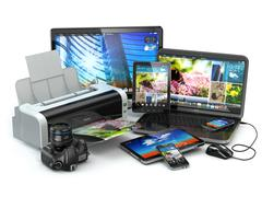 Computer devices. mobile phone, laptop, printer, camera and tablet pc. Stock Illustration