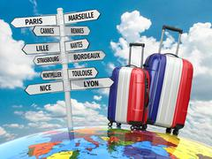 Travel concept. suitcases and signpost what to visit in france Stock Illustration