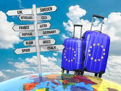 Travel concept. suitcases and signpost what to visit in europe. Stock Illustration