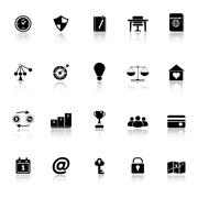 thinking related icons with reflect on white background - stock illustration