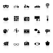 Favorite and like icons with reflect on white background Stock Illustration