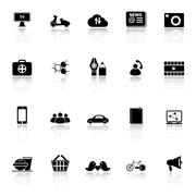 social network icons with reflect on white background - stock illustration