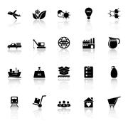 Supply chain and logistic icons with reflect on white background Stock Illustration