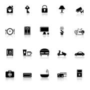 General home stay icons with reflect on white background Stock Illustration