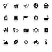 Public place sign icons with reflect on white background Stock Illustration