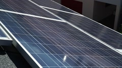 Solar Panels, Camera Pan slow right left zoom detail Stock Footage