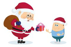 Santa Claus and boy - stock illustration