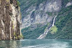 Waterfall in the geirangerfjord Stock Photos