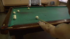 Pool game. Amateur game of billiards Stock Footage