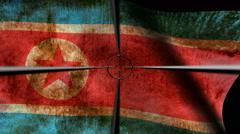 North Korea flag targeting concept Stock Footage