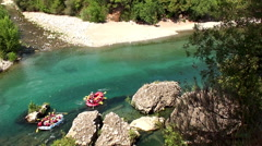 Whitewater rafting along the Köprüçay river in Turkey Stock Footage