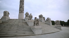 Overview of sclupture carved in granite stone at the monolith Vigeland Park Stock Footage