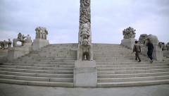 Visitors at Vigeland Park Oslo Norway Stock Footage
