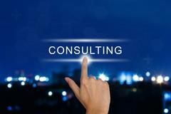 Hand pushing consulting button on touch screen Stock Illustration