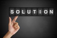 Hand pushing solution on flip board Stock Illustration
