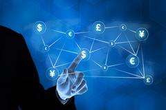 Business hand pushing global currency button Stock Illustration