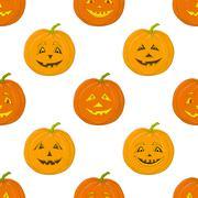 Pumpkins Jack O Lantern, seamless background - stock illustration