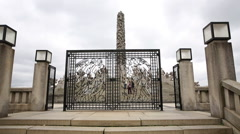 Entrance to the Monolith Vigeland Park Oslo Norway - stock footage