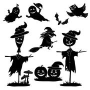 Halloween cartoon, set black silhouette Stock Illustration