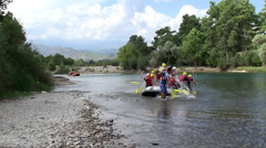 Finish point of white water rafting Stock Footage