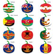 set pumpkins for halloween as a flags of the world. vector illus - stock illustration