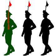 Silhouette soldiers during a military parade. vector illustratio Piirros
