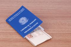 Brazilian work document and social security document (carteira de trabalho) a Stock Photos