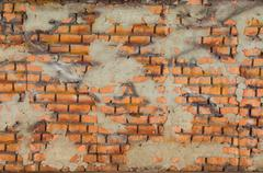 orange brick wall design - stock photo