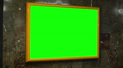 Notice board (panel) - green screen - in subway Stock Footage