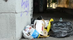 Rubbish on the street Stock Footage
