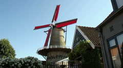 Old windmill in small Dutch town Sluis. Stock Footage