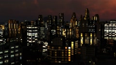 fly over City Skyline Aerial at night - 4k - stock footage