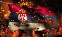 serbia burning fire flag war conflict night 3d - stock illustration