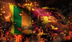 sri lanka burning fire flag war conflict night 3d - stock illustration