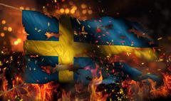 sweden burning fire flag war conflict night 3d - stock illustration