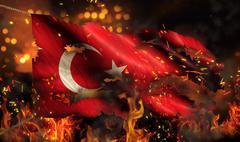 Turkey burning fire flag war conflict night 3d Stock Illustration