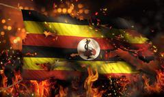 Uganda burning fire flag war conflict night 3d Stock Illustration