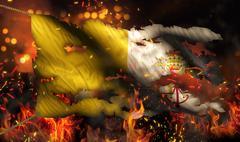 Vatican city burning fire flag war conflict night 3d Stock Illustration