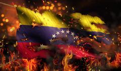 Venezuela burning fire flag war conflict night 3d Stock Illustration