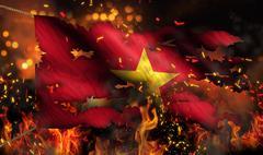 vietnam burning fire flag war conflict night 3d - stock illustration
