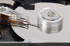 computer harddisk closed up - stock photo