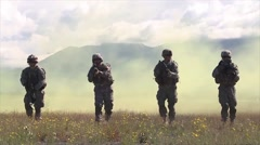 Special forces soldiers walk towards camera - stock footage
